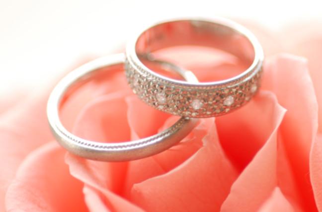 花の上にある2つの指輪